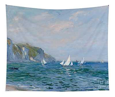 Cliffs And Sailboats At Pourville  Tapestry