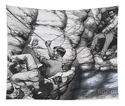Climbing Archaeologists Tapestry