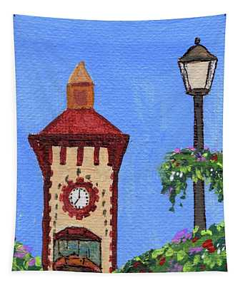 Clock Tower Impressionistic Landscape Xxxvii Tapestry