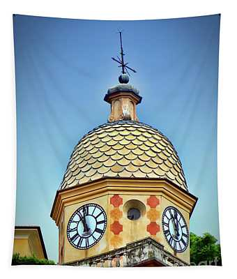 Clock Tower Of Portofino Tapestry by Sue Melvin