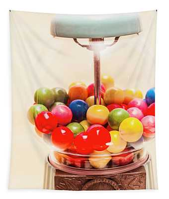 Closeup Of Colorful Gumballs In Candy Dispenser Tapestry