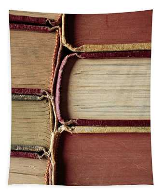 Closeup Of Old Books Tapestry