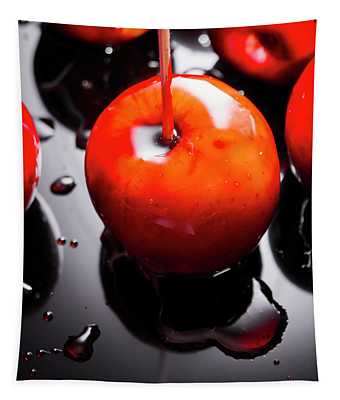 Closeup Of Red Candy Apple On Stick Tapestry