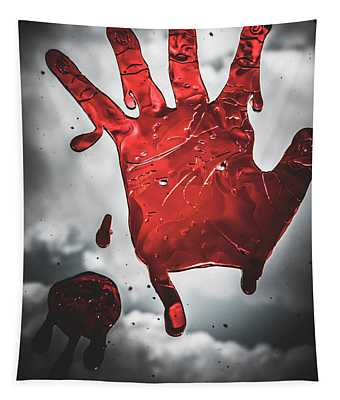 Closeup Of Scary Bloody Hand Print On Glass Tapestry