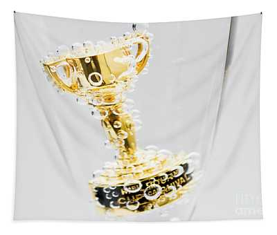 Closeup Of Small Trophy In Champagne Flute. Gold Colored Award I Tapestry