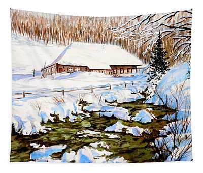 Clubhouse In Winter Tapestry