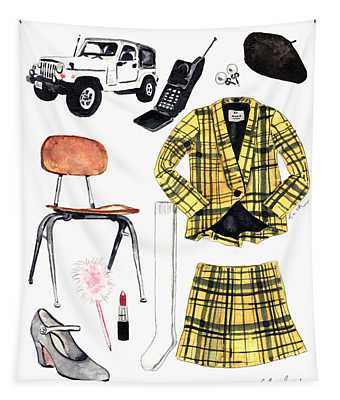 Clueless Movie Collage 90's Fashion Tapestry