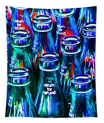 Coca-cola Coke Bottles - Return For Refund - Painterly - Blue Tapestry