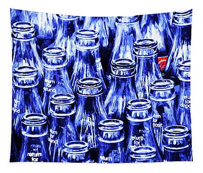 Coca-cola Coke Bottles - Return For Refund - Square - Painterly - Blue Tapestry