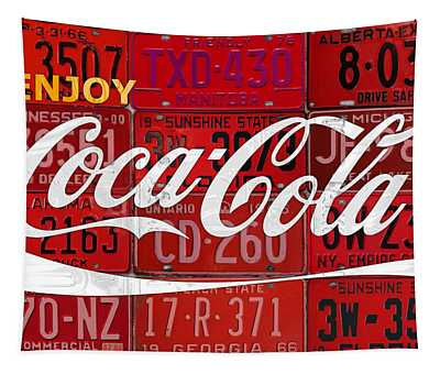 Coca Cola Enjoy Soft Drink Soda Pop Beverage Vintage Logo Recycled License Plate Art Tapestry