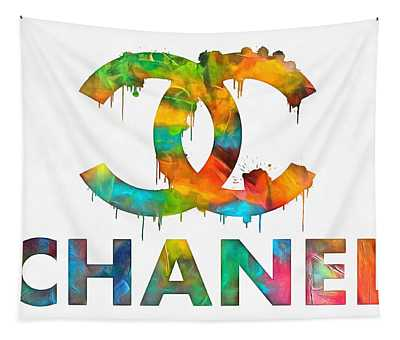 Coco Chanel Paint Splatter Color Tapestry
