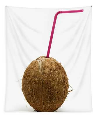 Coconut With A Straw Tapestry
