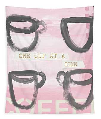 Coffee Cups Pink- Art By Linda Woods Tapestry