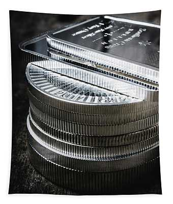 Coins Of Silver Stacking Tapestry