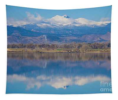 Colorado Longs Peak Circling Clouds Reflection Tapestry