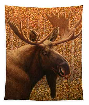 Tapestry featuring the painting Colorado Moose by James W Johnson