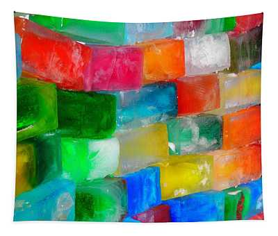 Colored Ice Bricks Tapestry