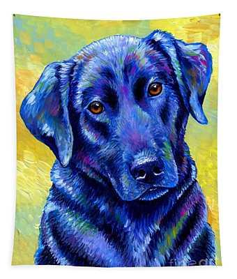 Colorful Black Labrador Retriever Dog Tapestry