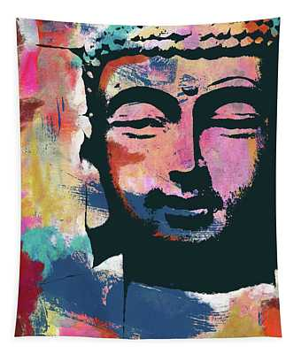 Colorful Buddha 2- Art By Linda Woods Tapestry