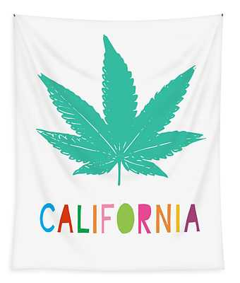 Colorful California Cannabis- Art By Linda Woods Tapestry
