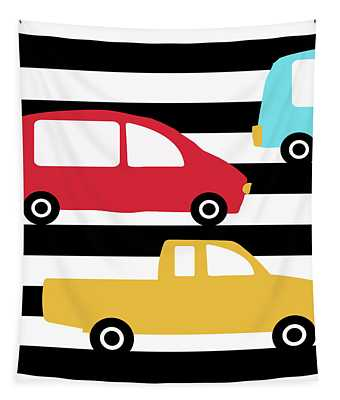 Colorful Cars- Art By Linda Woods Tapestry