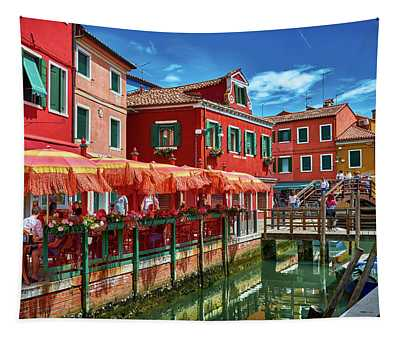 Colorful Day In Burano Tapestry