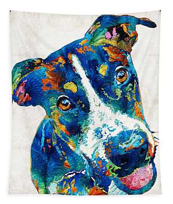 Colorful Dog Art - Happy Go Lucky - By Sharon Cummings Tapestry