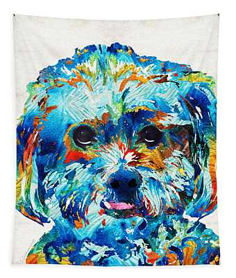 Colorful Dog Art - Lhasa Love - By Sharon Cummings Tapestry