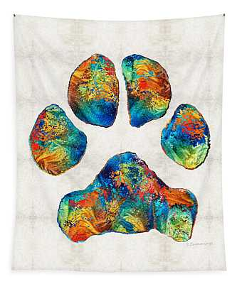 Colorful Dog Paw Print By Sharon Cummings Tapestry