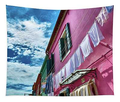 Colorful Facade With Laundry In Burano Tapestry
