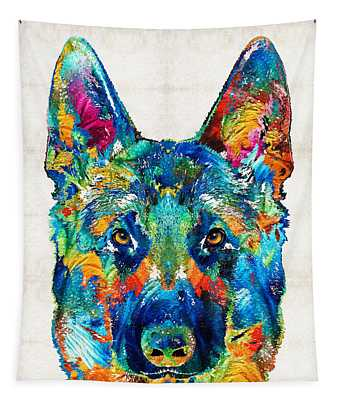 Colorful German Shepherd Dog Art By Sharon Cummings Tapestry