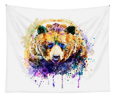 Colorful Grizzly Bear Tapestry