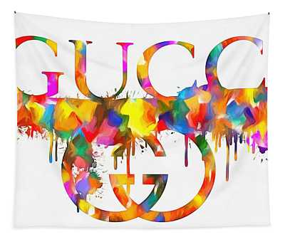 Colorful Gucci Paint Splatter Tapestry