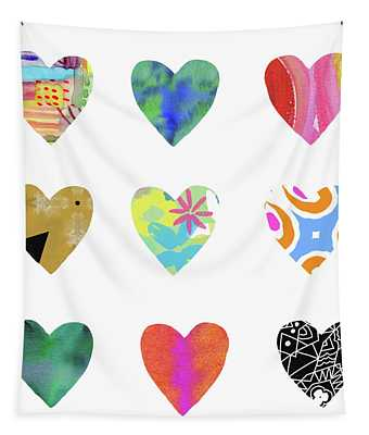 Colorful Hearts- Art By Linda Woods Tapestry