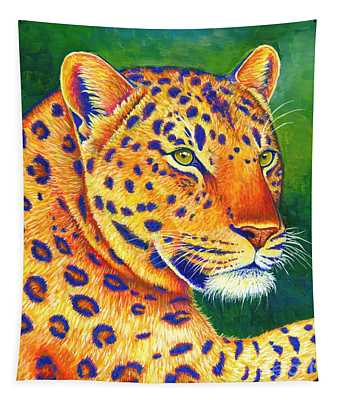 Colorful Leopard Portrait Tapestry