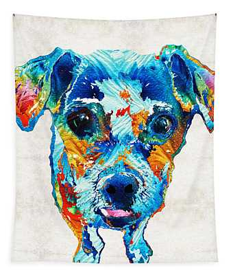 Colorful Little Dog Pop Art By Sharon Cummings Tapestry