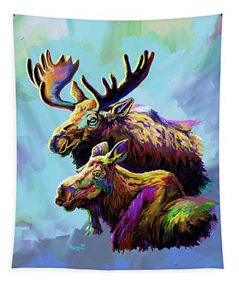 Colorful Moose Tapestry