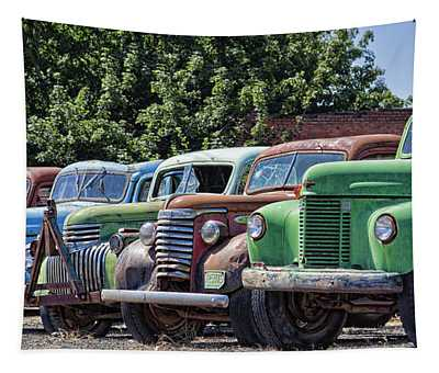 Colorful Old Rusty Cars Tapestry
