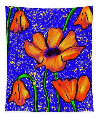 Colorful Flower- Poppies Tapestry