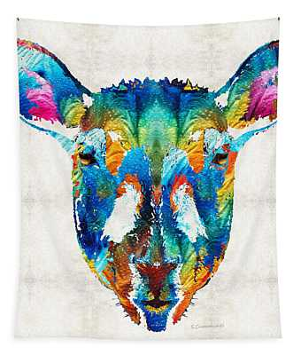 Colorful Sheep Art - Shear Color - By Sharon Cummings Tapestry