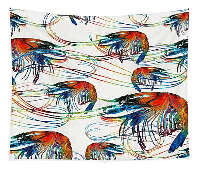 Colorful Shrimp Collage Art By Sharon Cummings Tapestry