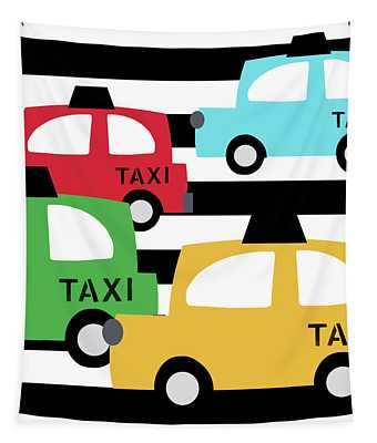 Colorful Taxis- Art By Linda Woods Tapestry