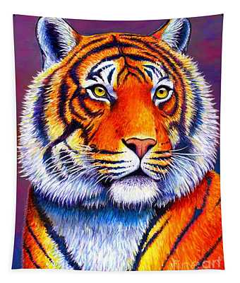 Colorful Tiger Tapestry