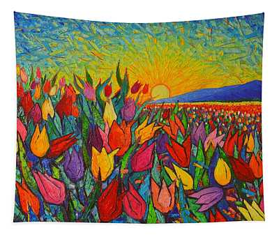 Colorful Tulips Field Sunrise - Abstract Impressionist Palette Knife Painting By Ana Maria Edulescu Tapestry
