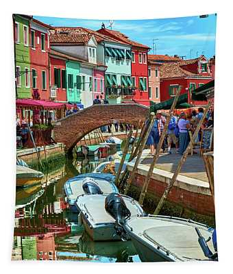 Colorful View In Burano Tapestry