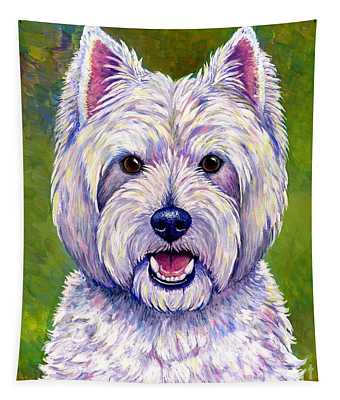 Colorful West Highland White Terrier Dog Tapestry
