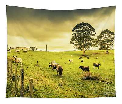 Colourful Australian Cattle Station Tapestry