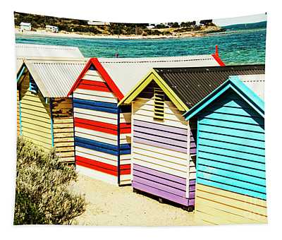 Colourful Bathing Sheds Tapestry
