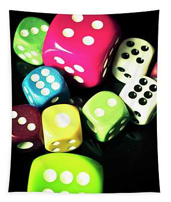 Colourful Casino Dice  Tapestry