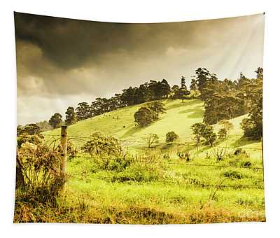 Colourful Fields And Farmyards Tapestry